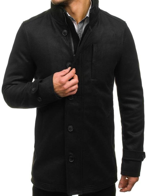Pánský černý zimní kabát Bolf 3129