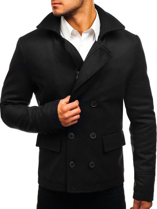 Pánský černý zimní kabát Bolf 3130