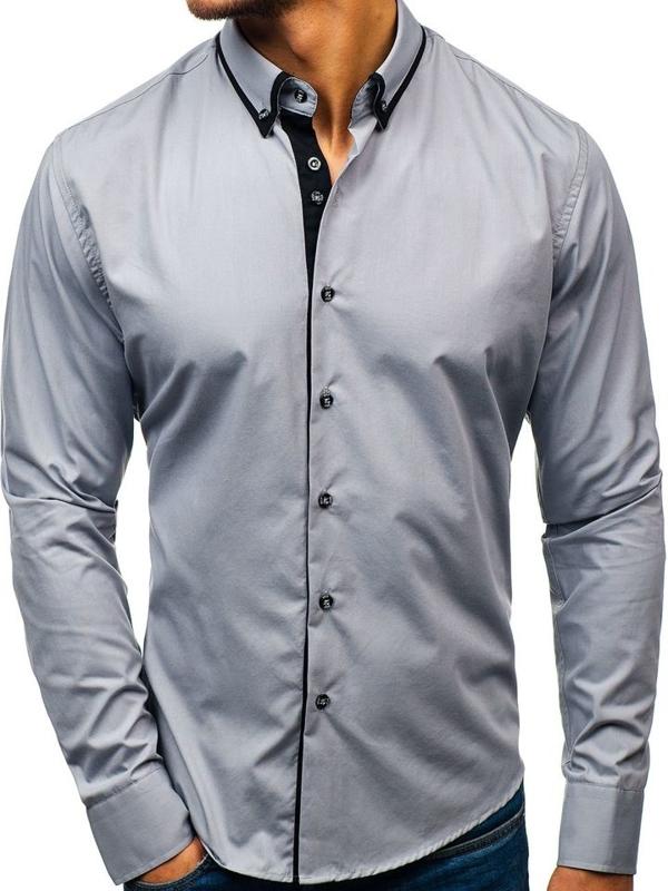 Šedá pánská elegantní košile s dlouhým rukávem Bolf 8831