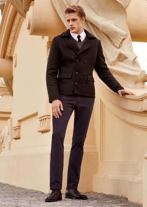Stylizace č. 74 - kabát, svetr, košile, chino kalhoty