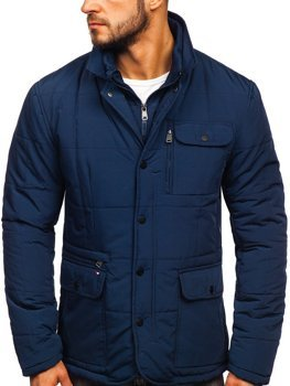 Tmavě modrá elegantní pánská zimní bunda Bolf 1976