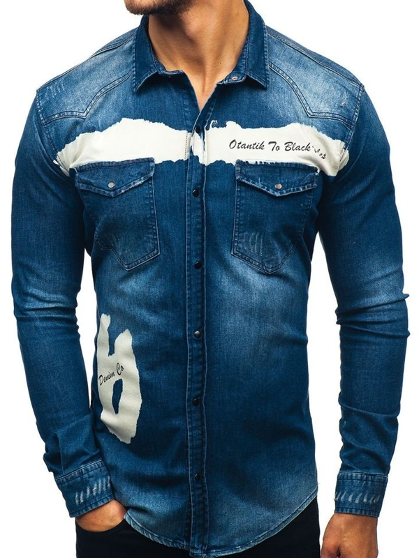 Tmavě modrá pánská džínová košile s dlouhým rukávem Bolf 2063-1