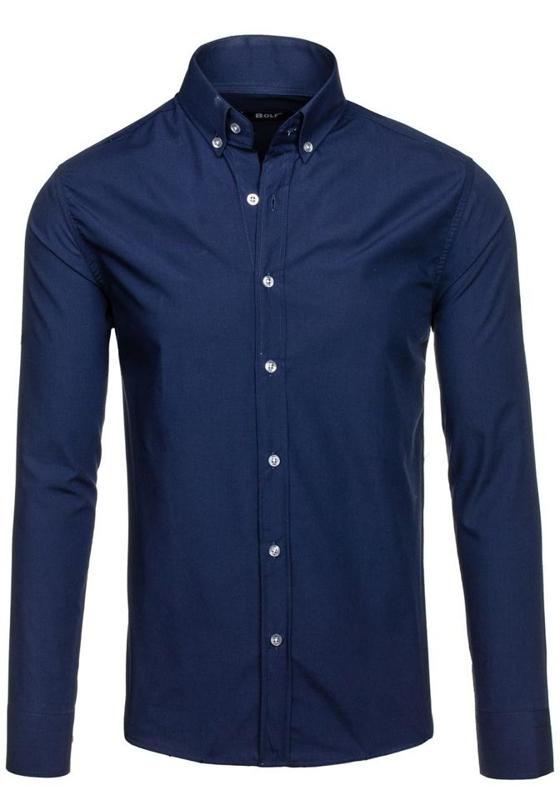 Tmavě modrá pánská elegantní košile s dlouhým rukávem Bolf 6942