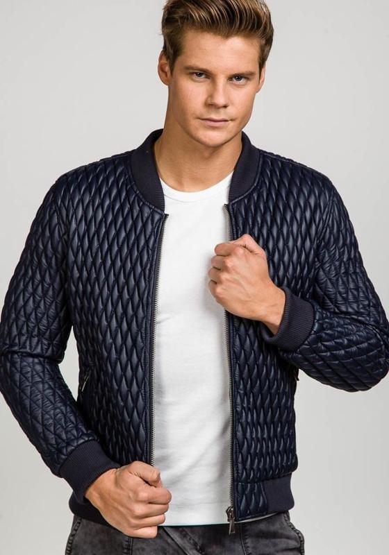 Tmavě modrá pánská kožená bunda z ekokůže Bolf 7558