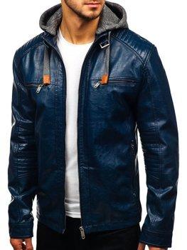 Tmavě modrá pánská koženková bunda Bolf ex705
