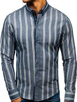 Tmavě modrá pánská proužkovaná košile s dlouhým rukávem Bolf 8836