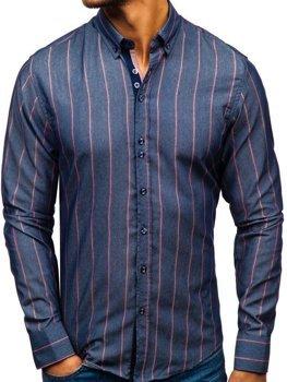 Tmavě modrá pánská proužkovaná košile s dlouhým rukávem Bolf 8837