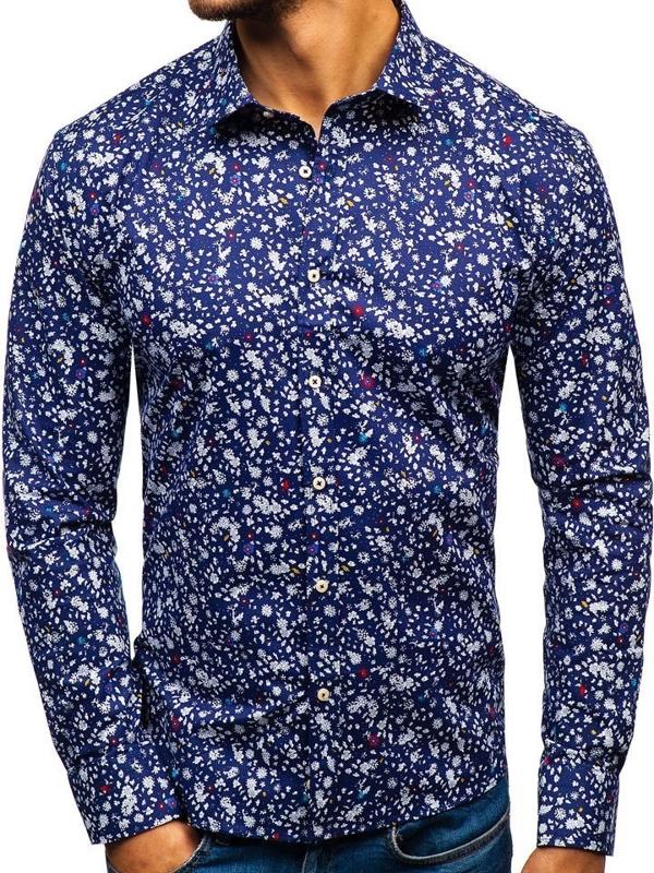 Tmavě modrá pánská vzorovaná košile s dlouhým rukávem Bolf 300G12