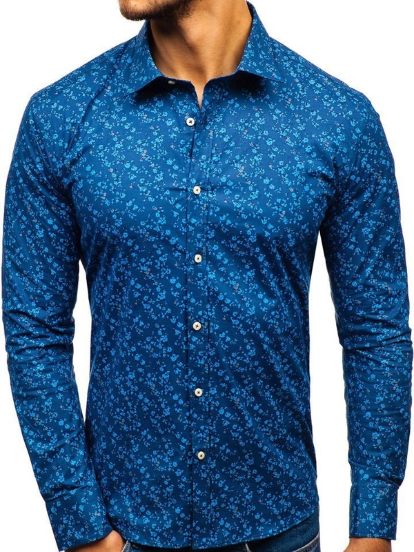 Tmavě modrá pánská vzorovaná košile s dlouhým rukávem Bolf 300G6