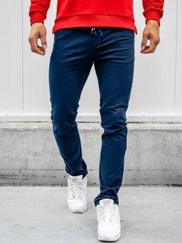 Tmavě modré pánské bavlněné kalhoty Bolf KA8878