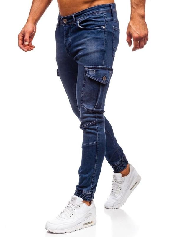 Tmavě modré pánské džínové jogger kalhoty Bolf 1053