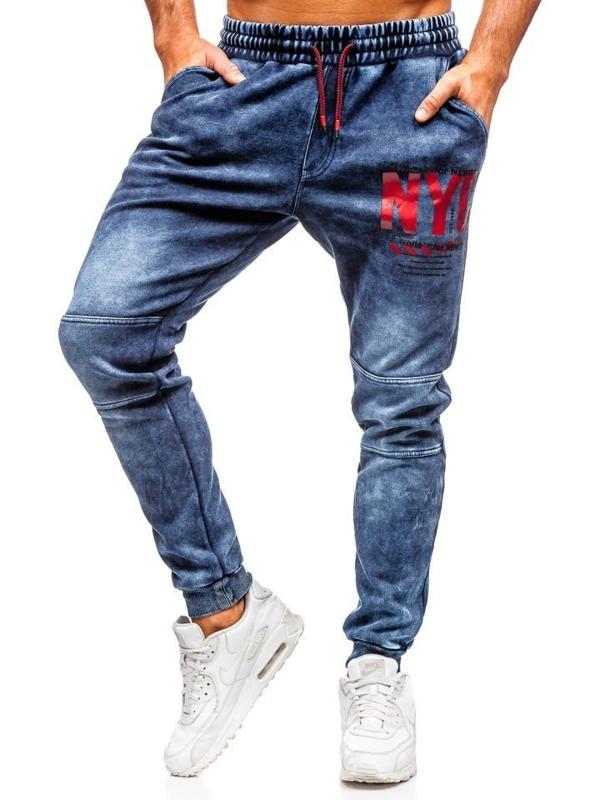 Tmavě modré pánské džínové jogger kalhoty Bolf KK1057