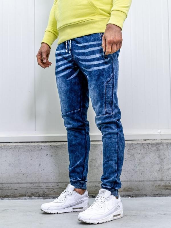 Tmavě modré pánské džínové jogger kalhoty Bolf KK1063