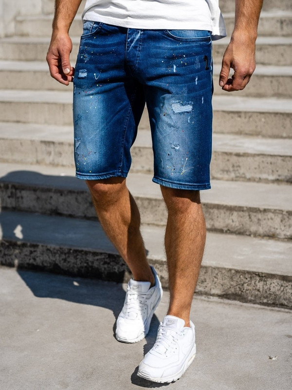 Tmavě modré pánské džínové kraťasy Bolf 3001