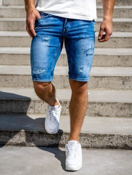 Tmavě modré pánské džínové kraťasy Bolf 3005
