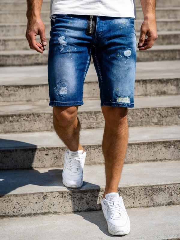 Tmavě modré pánské džínové kraťasy Bolf 3008
