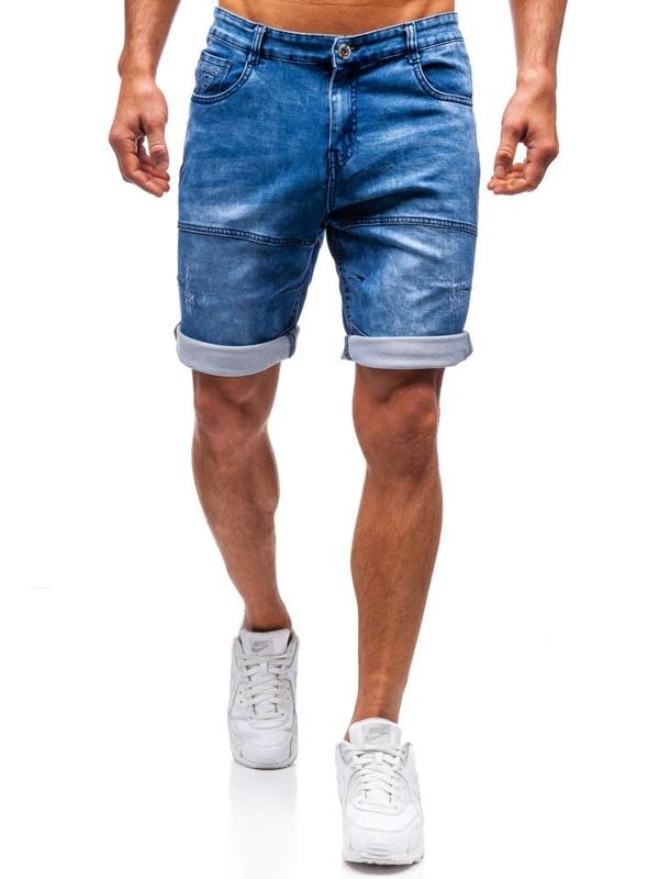 Tmavě modré pánské džínové kraťasy Bolf HY187