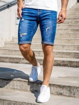 Tmavě modré pánské džínové kraťasy Bolf KG3606