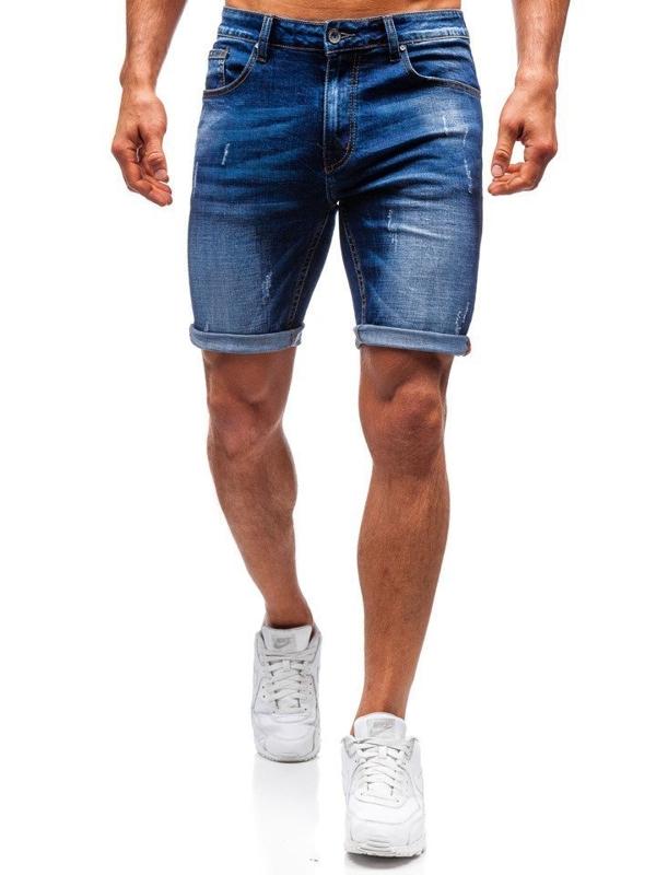 Tmavě modré pánské džínové kraťasy Bolf T575