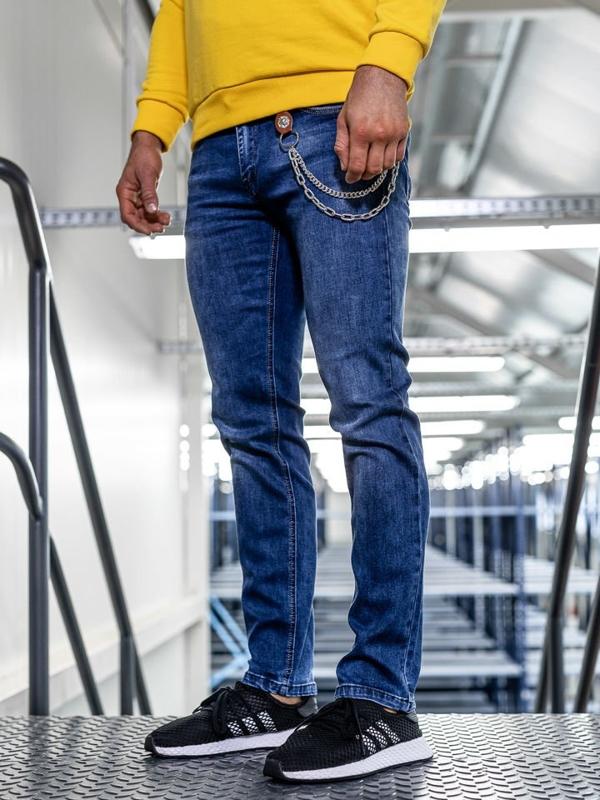 Tmavě modré pánské džíny straight leg Bolf KA1261