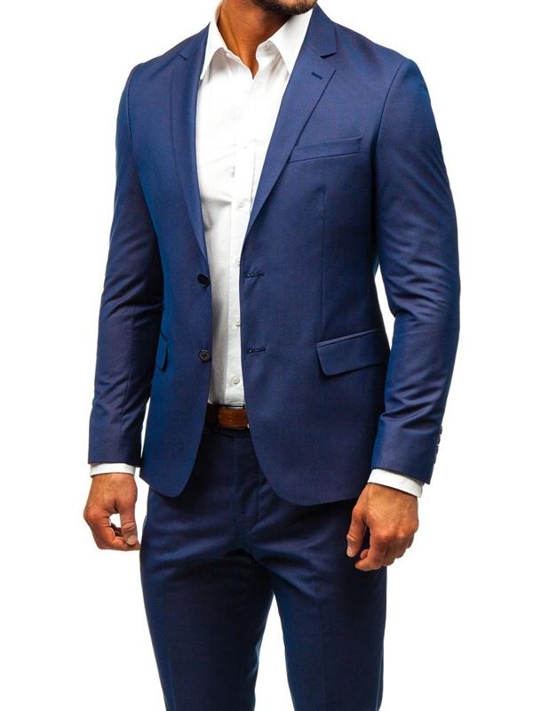 Tmavě modrý pánský oblek Bolf 19200