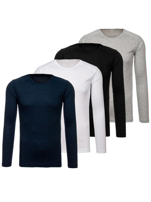 Vícebarevná pánská trička s dlouhým rukávem bez potisku 4 Pack Bolf C10045-4P