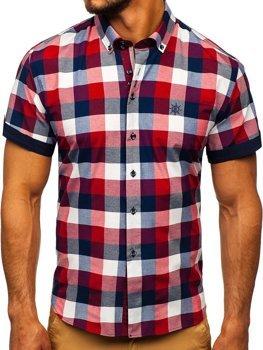 Vínová pánská kostkovaná košile s krátkým rukávem Bolf 5532