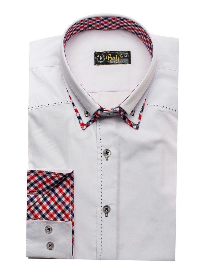 0aea1f6a07e Bílá pánská košile s dlouhým rukávem Bolf 3707