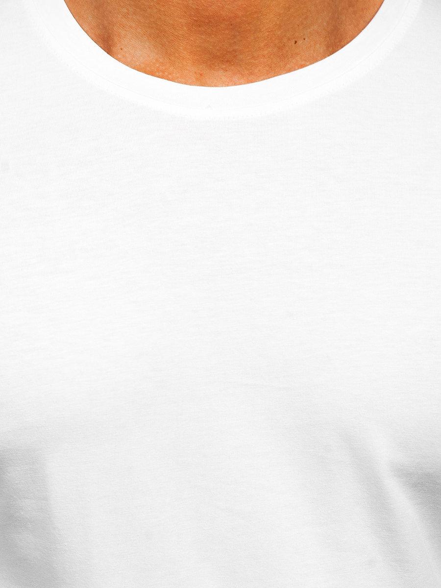 04c8b1143b8 Bílé pánské tričko s dlouhým rukávem bez potisku Bolf 1209