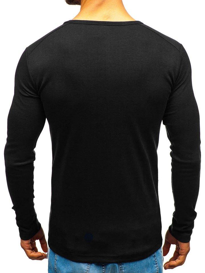 Černé pánské tričko s dlouhým rukávem bez potisku Bolf C10045 fb197e25ca
