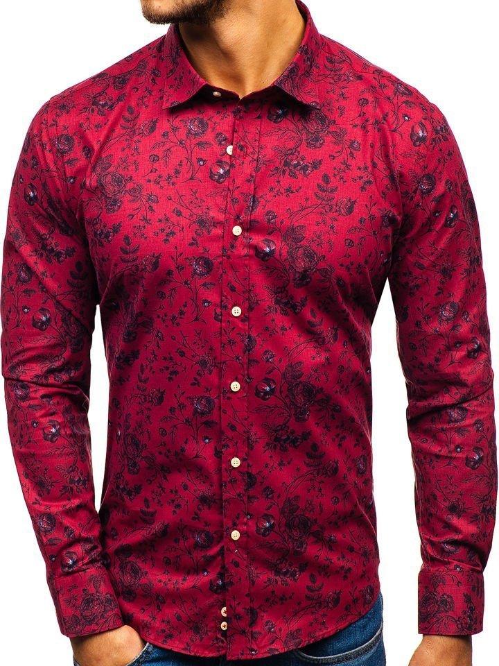 c0c3a9e3120 Červená pánská vzorovaná košile s dlouhým rukávem Bolf 200G7