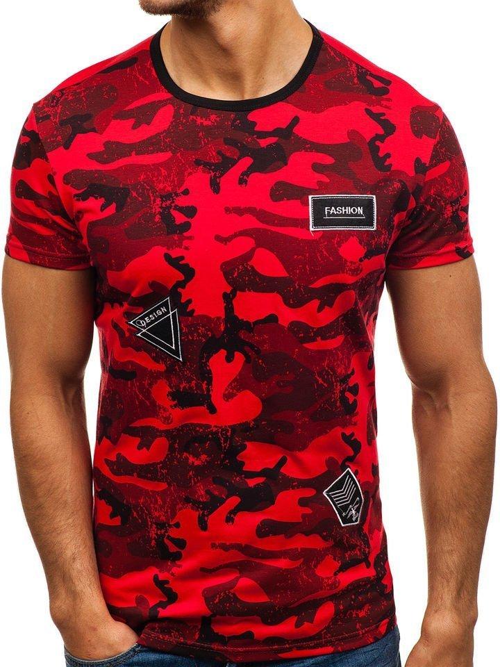 Červené pánské maskáčové tričko s potiskem Bolf SS395 7973f0b014b