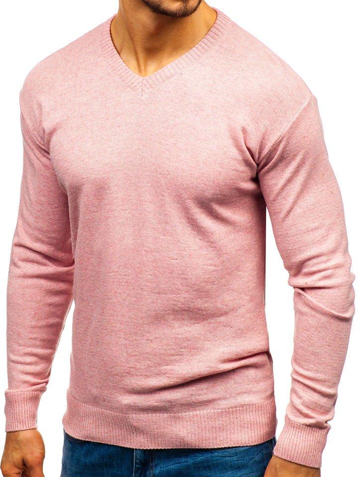 Růžový pánský svetr s výstřihem do V Bolf 6002 5a934c1661