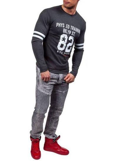 Antracitové pánské tričko s dlouhým rukávem a potiskem Bolf 4245