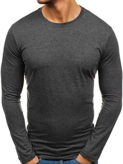 Antracitové pánské tričko s dlouhým rukávem bez potisku Bolf 135