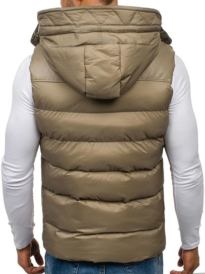Béžová pánská vesta s kapucí Bolf 7532