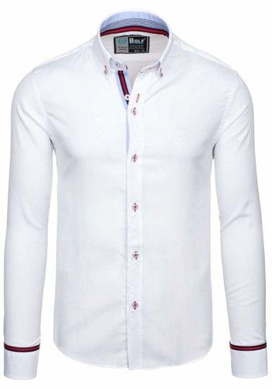 Bílá pánská elegantní košile s dlouhým rukávem Bolf 5801-A