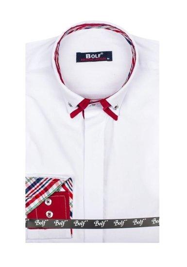 Bílá pánská elegantní košile s dlouhým rukávem Bolf 6895