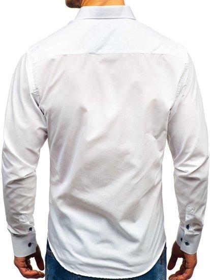 Bílá pánská elegantní košile s dlouhým rukávem Bolf 8840