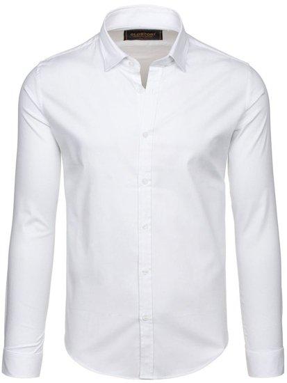 Bílá pánská elegantní košile s dlouhým rukávem Bolf 9666