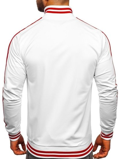 Bílá pánská mikina na zip bez kapuce retro style Bolf 11113