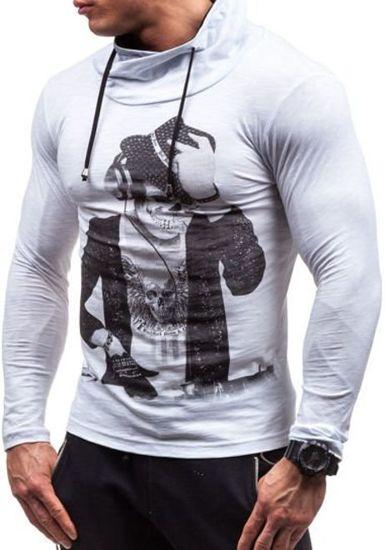 Bílé pánské tričko s dlouhým rukávem a potiskem Bolf 2208