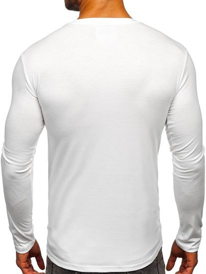Bílé pánské tričko s dlouhým rukávem bez potisku Bolf 2088L