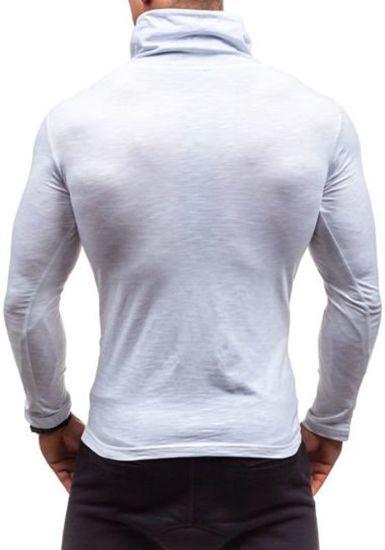 Bílé pánské tričko s dlouhým rukávem s potiskem Bolf 2208