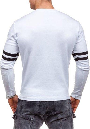 Bílé pánské tričko s dlouhým rukávem s potiskem Bolf 4629