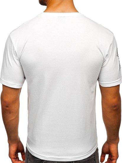 Bílé pánské tričko s potiskem Bolf 14315