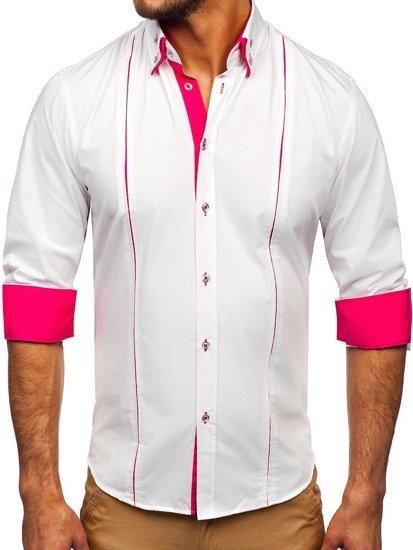 Bílo-růžová pánská elegantní košile s dlouhým rukávem Bolf 4744