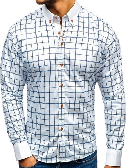 Bílo-tmavě modrá pánská elegantní košile s dlouhým rukávem Bolf 8842-1