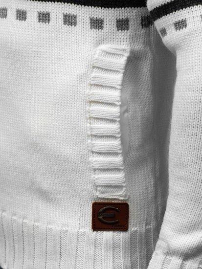 Bílý pánský propínací svetr Bolf 585