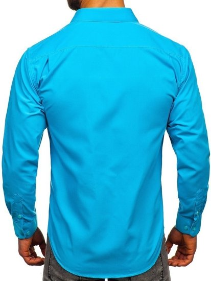 Blankytná pánská elegantní košile s dlouhým rukávem Bolf 0003